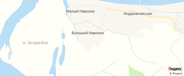 Карта деревни Большого Наволока в Архангельской области с улицами и номерами домов