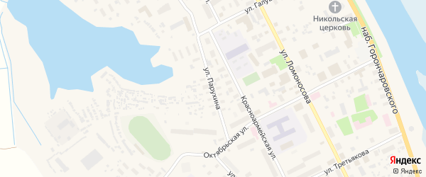 Улица Парухина на карте села Холмогор с номерами домов
