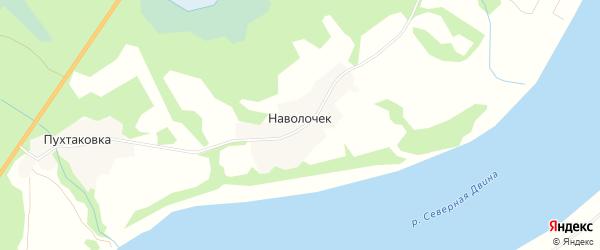 Карта деревни Наволочек в Архангельской области с улицами и номерами домов