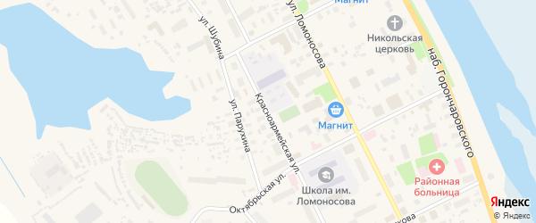 Красноармейская улица на карте села Холмогор с номерами домов
