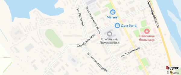 Октябрьская улица на карте села Холмогор с номерами домов