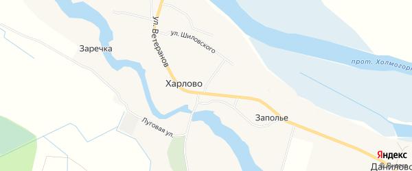 Карта деревни Харлово в Архангельской области с улицами и номерами домов