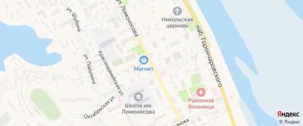Улица Ломоносова на карте села Холмогор с номерами домов
