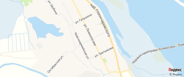 Карта села Холмогор в Архангельской области с улицами и номерами домов
