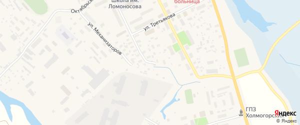 Загородная улица на карте села Холмогор с номерами домов