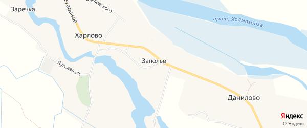 Карта деревни Заполья (Челмохта) в Архангельской области с улицами и номерами домов