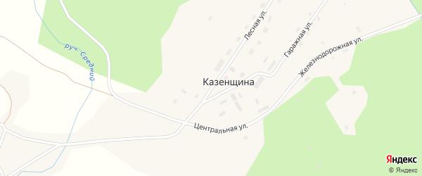 Лесная улица на карте поселка Казенщины с номерами домов