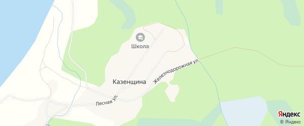 Карта поселка Казенщины в Архангельской области с улицами и номерами домов