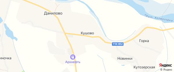 Карта деревни Кушово в Архангельской области с улицами и номерами домов