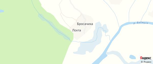 Карта деревни Лохты в Архангельской области с улицами и номерами домов