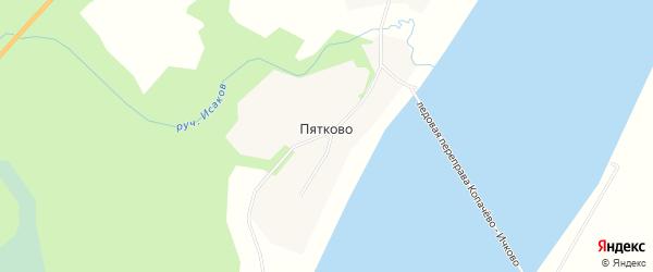 Карта деревни Пятково в Архангельской области с улицами и номерами домов