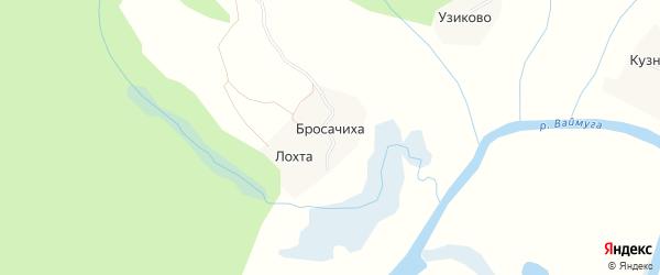 Карта деревни Бросачихи в Архангельской области с улицами и номерами домов