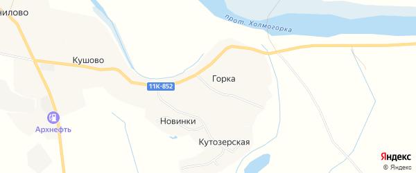 Карта деревни Горки (Матигорской) в Архангельской области с улицами и номерами домов