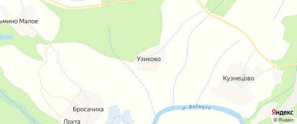Карта деревни Узиково в Архангельской области с улицами и номерами домов