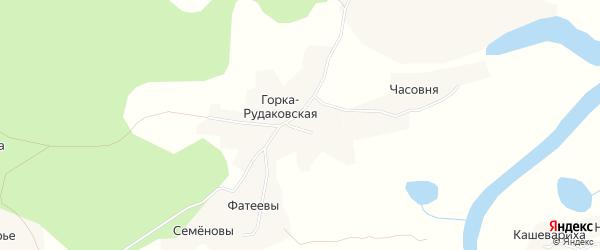 Карта Горка-Рудаковская деревни в Архангельской области с улицами и номерами домов
