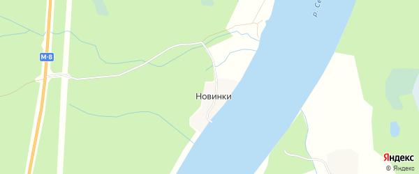Карта деревни Новинки (Копачевский с/с) в Архангельской области с улицами и номерами домов