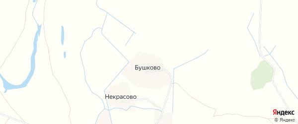 Карта деревни Бушково в Архангельской области с улицами и номерами домов