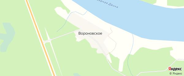 Карта деревни Вороновское в Архангельской области с улицами и номерами домов