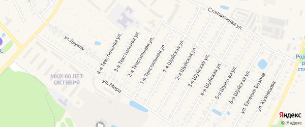 Текстильная 1-я улица на карте Родники с номерами домов
