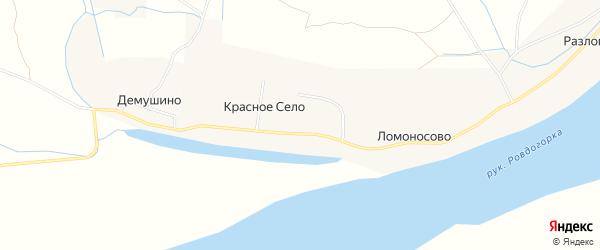 Карта деревни Красного Село в Архангельской области с улицами и номерами домов