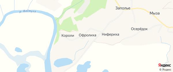 Карта деревни Ниферихи в Архангельской области с улицами и номерами домов