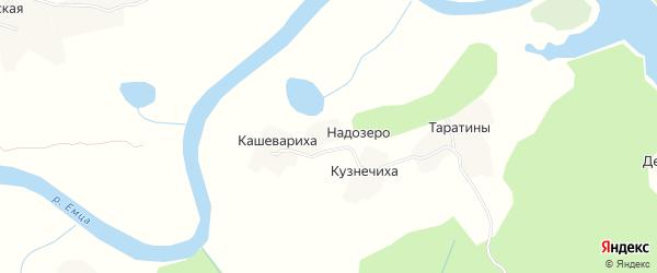 Карта деревни Надозера в Архангельской области с улицами и номерами домов