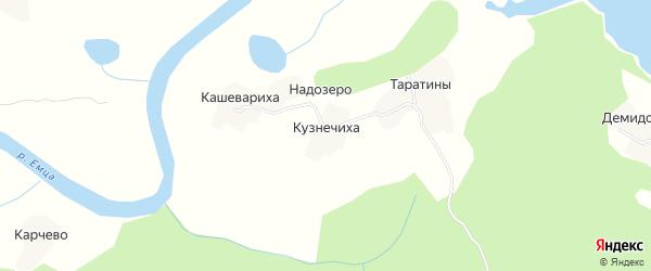 Карта деревни Кузнечиха в Архангельской области с улицами и номерами домов