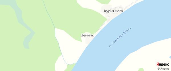 Карта деревни Земника в Архангельской области с улицами и номерами домов
