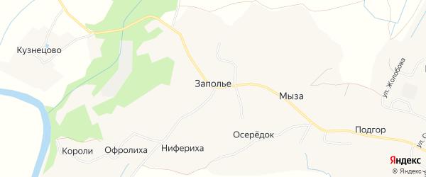 Карта деревни Заполье (Матигорский с/с) в Архангельской области с улицами и номерами домов
