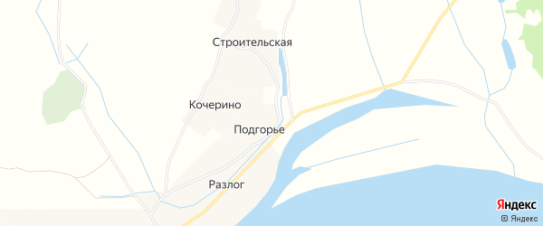 Карта деревни Подгорье (Матигорский с/с) в Архангельской области с улицами и номерами домов
