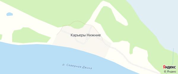 Карта деревни Карьеров Нижние в Архангельской области с улицами и номерами домов