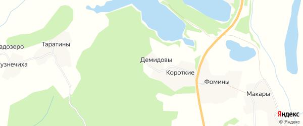 Карта деревни Демидовов в Архангельской области с улицами и номерами домов