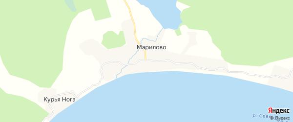 Карта деревни Марилово в Архангельской области с улицами и номерами домов