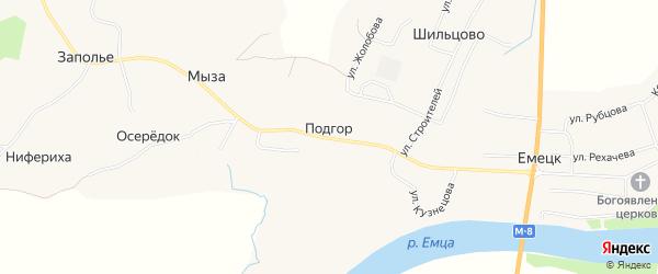 Карта деревни Подгор (Емецкий с/с) в Архангельской области с улицами и номерами домов