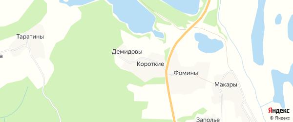Карта деревни Короткие в Архангельской области с улицами и номерами домов