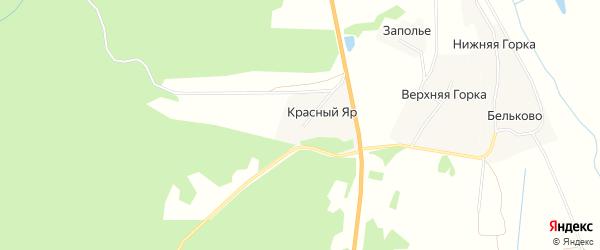 Карта деревни Красный Яр (Емецкий с/с) в Архангельской области с улицами и номерами домов