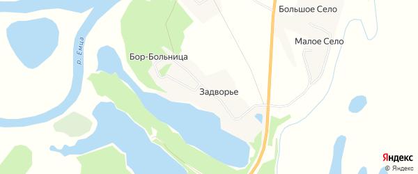 Карта деревни Задворье в Архангельской области с улицами и номерами домов