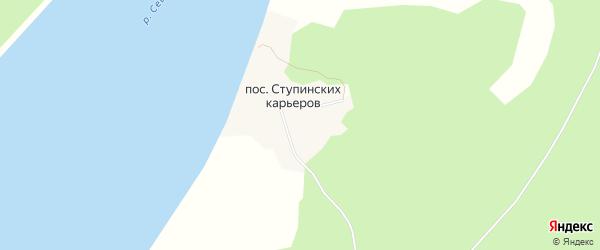 Карта поселка Ступинских карьеров в Архангельской области с улицами и номерами домов
