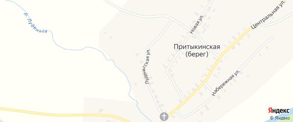 Луденьгская улица на карте деревни Притыкинской (берега) с номерами домов