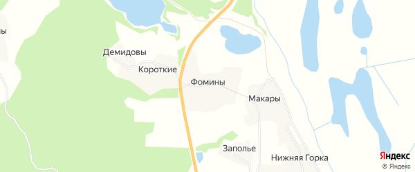 Карта деревни Фомины в Архангельской области с улицами и номерами домов