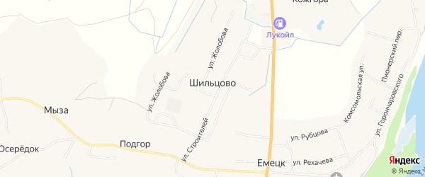 Карта деревни Шильцово в Архангельской области с улицами и номерами домов