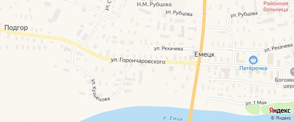 Улица Горончаровского на карте села Емецка с номерами домов