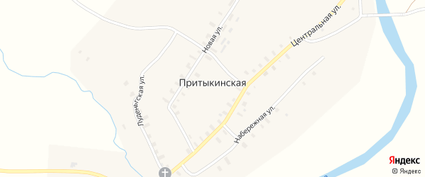 Набережная улица на карте деревни Притыкинской (берега) с номерами домов