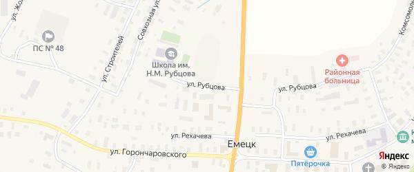 Улица Рубцова на карте села Емецка с номерами домов