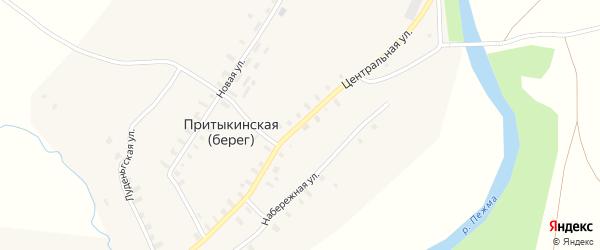 Центральная улица на карте деревни Притыкинской (берега) с номерами домов