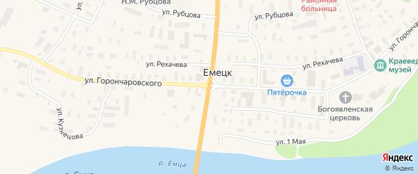 Улица Григорьева на карте села Емецка с номерами домов