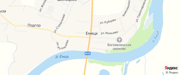 Карта села Емецка в Архангельской области с улицами и номерами домов