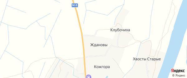 Карта деревни Ждановы в Архангельской области с улицами и номерами домов