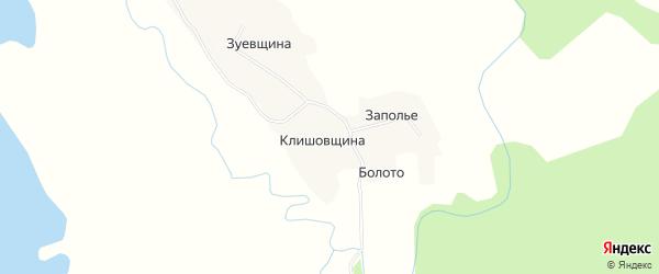 Карта деревни Клишовщины в Архангельской области с улицами и номерами домов