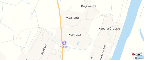 Карта деревни Кожгоры в Архангельской области с улицами и номерами домов